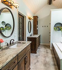 An example of a bathroom with a double vanity.