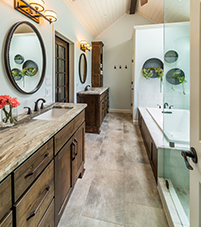 A bathroom with a double vanity.